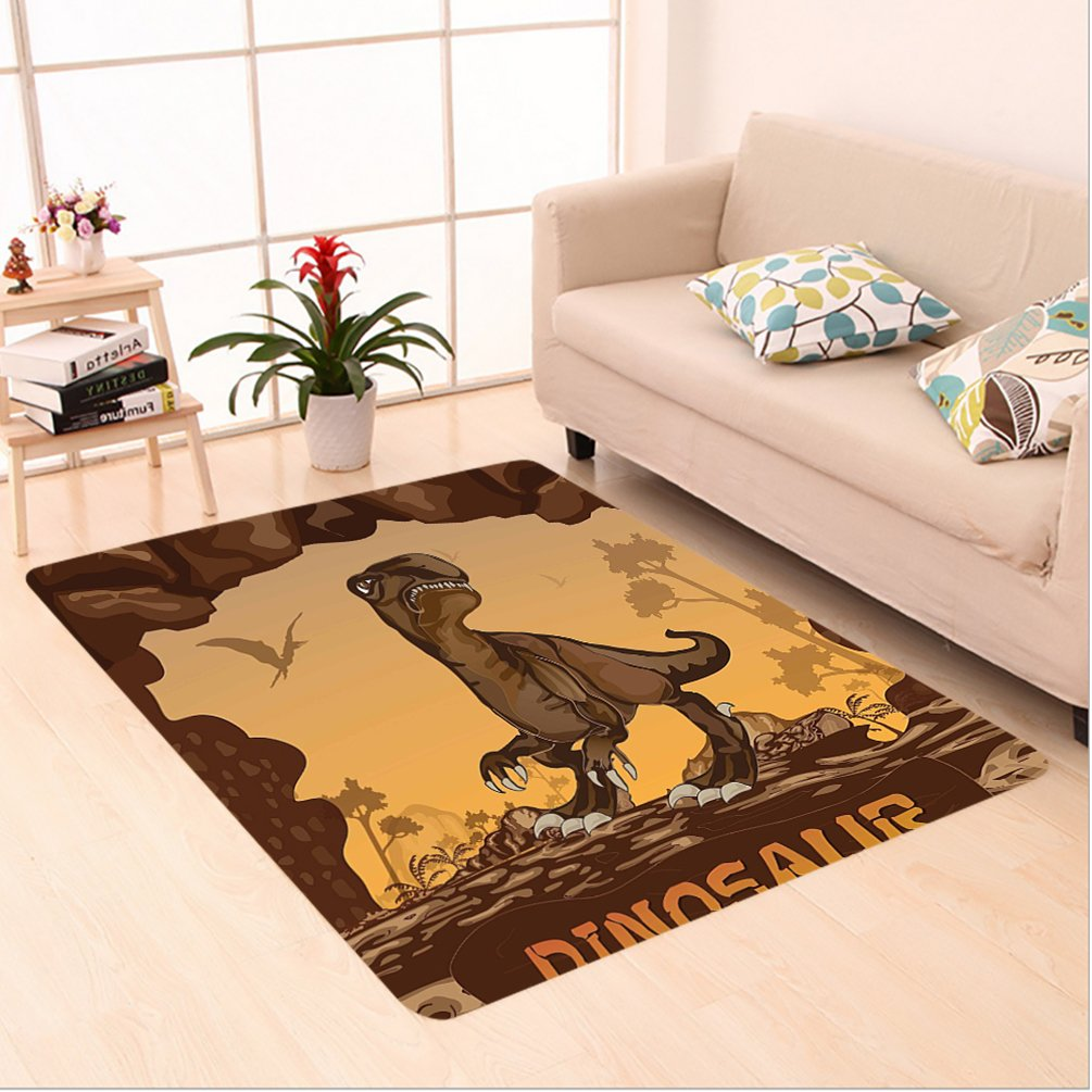 Nalahome Custom carpet y Giant Dinosaur on Cliffs Cave Wild Fossil Jurassic Archaic Animal Illustration Apricot Redwood area rugs for Living Dining Room Bedroom Hallway Office Carpet (6.5' X 10')
