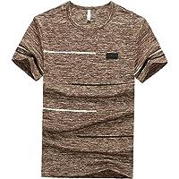 EElabper Camiseta de hombre Slim Rayas Cuello Redondo Manga Corta Verano Ocio parte Superior Caqui M