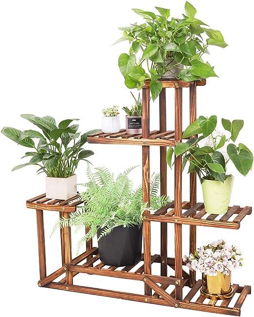 Soporte de Madera para Flores Estantería Decorativa de Macetas Plantas para Exterior Interior con 6 estantes 96×95×25cm: Amazon.es: Jardín