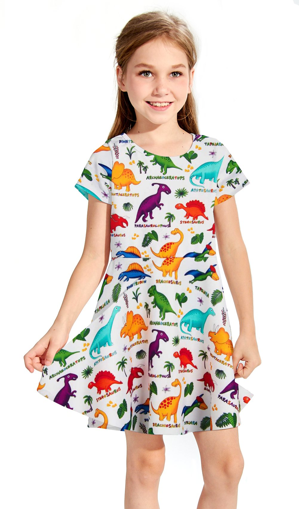 RAISEVERN Girls Summer Short Sleeve Dress Dinosaurs Printing Casual Dress Kids 8-9 Years by RAISEVERN (Image #2)
