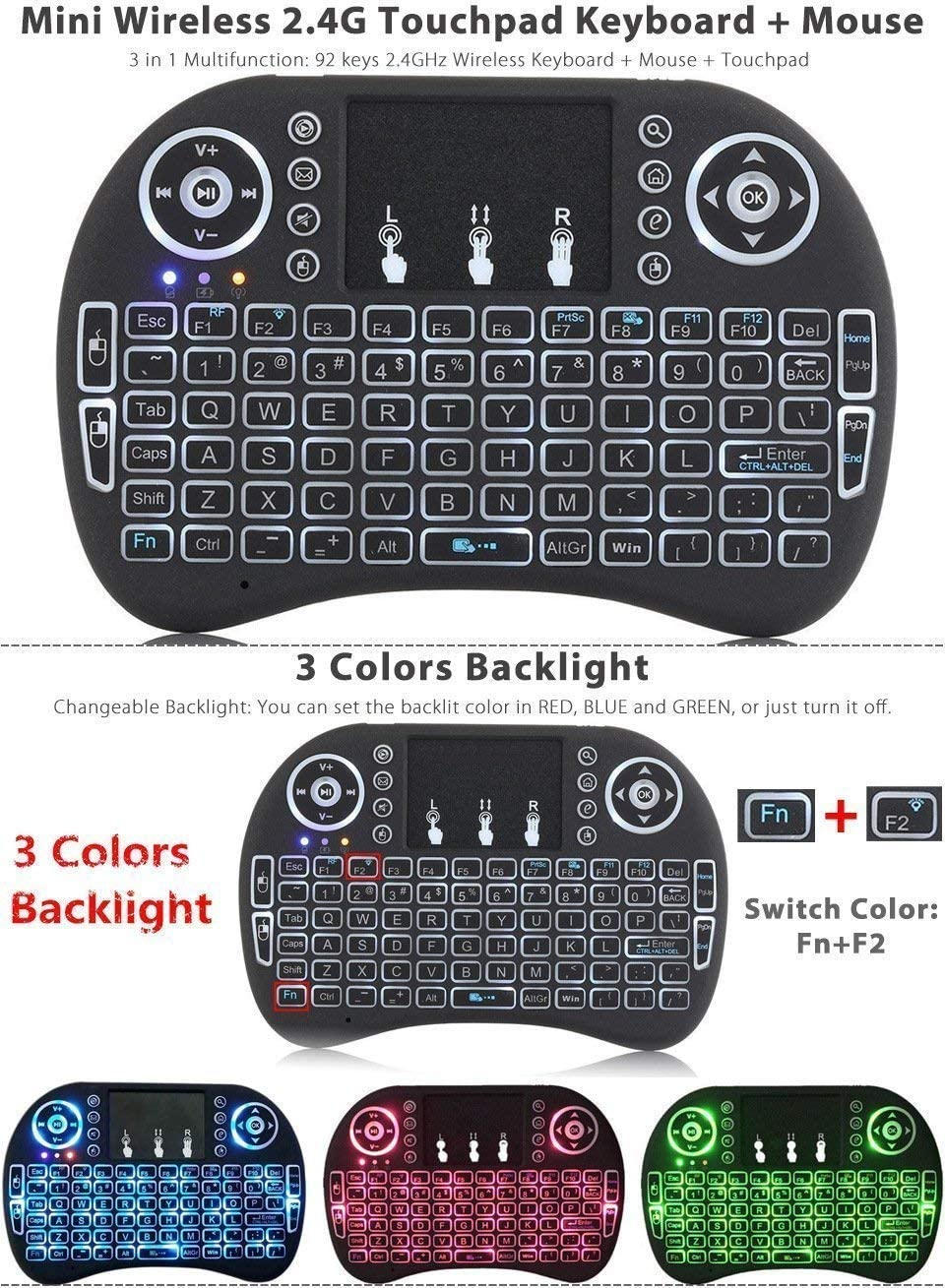 Browser for Hisense 43 Inch H43A6550UK Black Wireless Mini Keyboard /& Mouse Easy Control Remote Control for YouTube