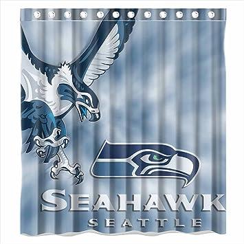 Custom NFL Seattle Seahawks Wasserdicht Badezimmer Duschvorhang Polyester Stoff Vorhang Fur Die Dusche Grosse 66 X