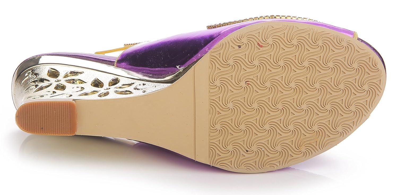 Honeystore Frauen Kunstleder Keil Keil Kunstleder Absatz Sandalen mit Strass Schuhe Violett 28a798