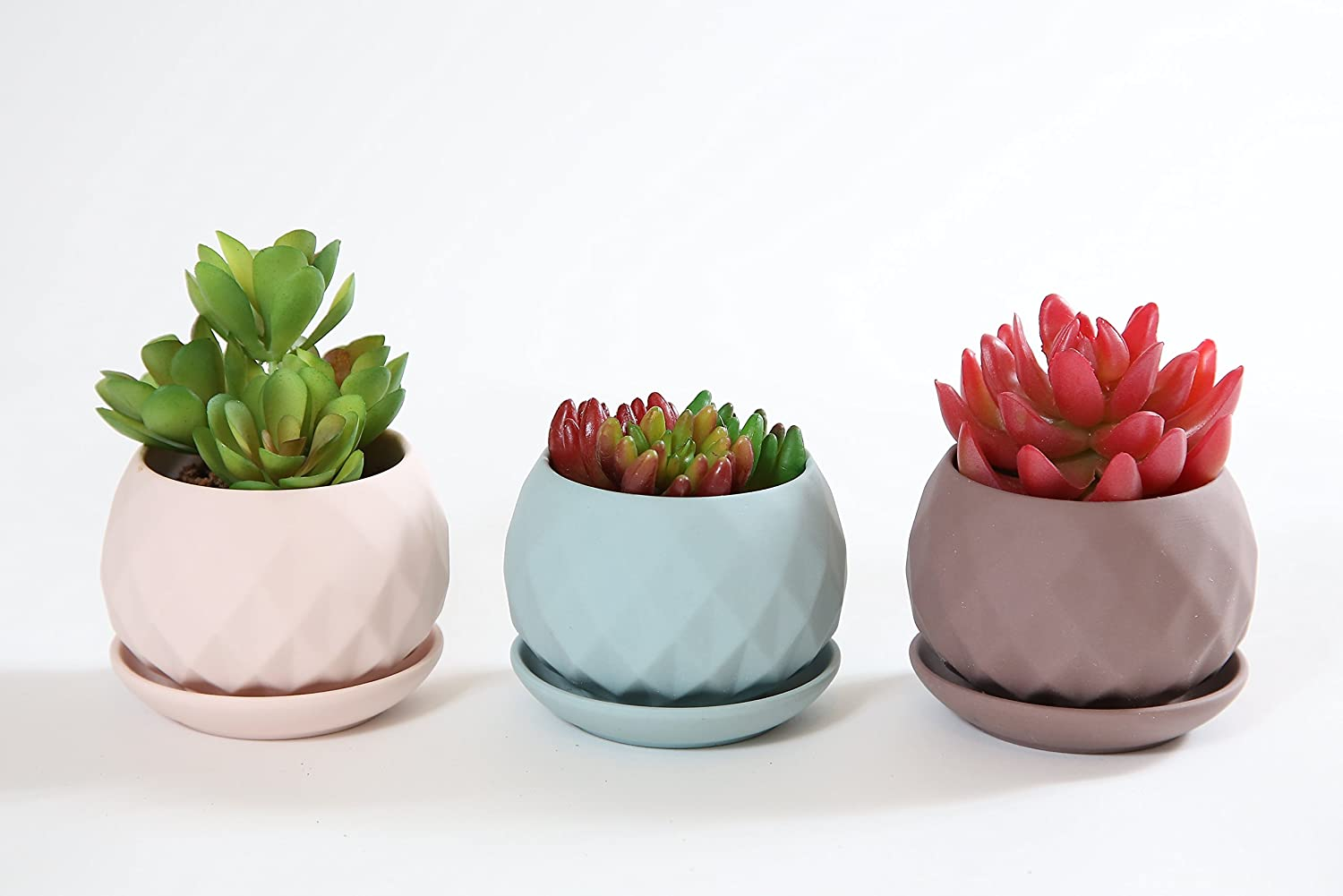 Amazon.com: Succulent Planter Ceramic Pot Set Polygon Style Set of 3 ...