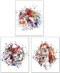 Football Watercolor Wall Art Decor Prints - Set of 3 (8x10) Inch Poster Photos - Kids Bedroom - Man Cave - Gift Idea
