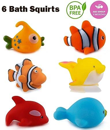 WISHKEY Chu Chu Bath Toys for Baby Aquatic Fish Animals Set of 6 Non Toxic BPA Free Toy…
