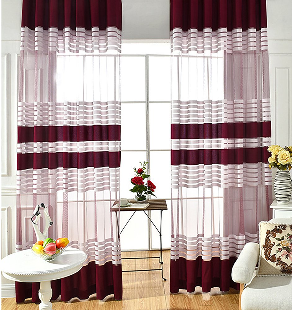 ASide BSide Chic Style Sheer Curtains Rod Pocket Color Block Striped Transparent Window Decoration For Sitting Room Houseroom and Children Room (1 Panel, W 52 x L 63 inch, Wine Red)