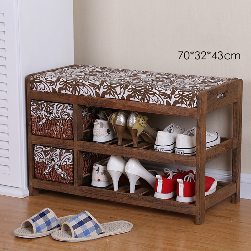 HHQ shoes Rack Change shoes Bench shoesbox Multifunction Solid Wood Wearing a shoes Bench Change shoes Bench Storage Stool
