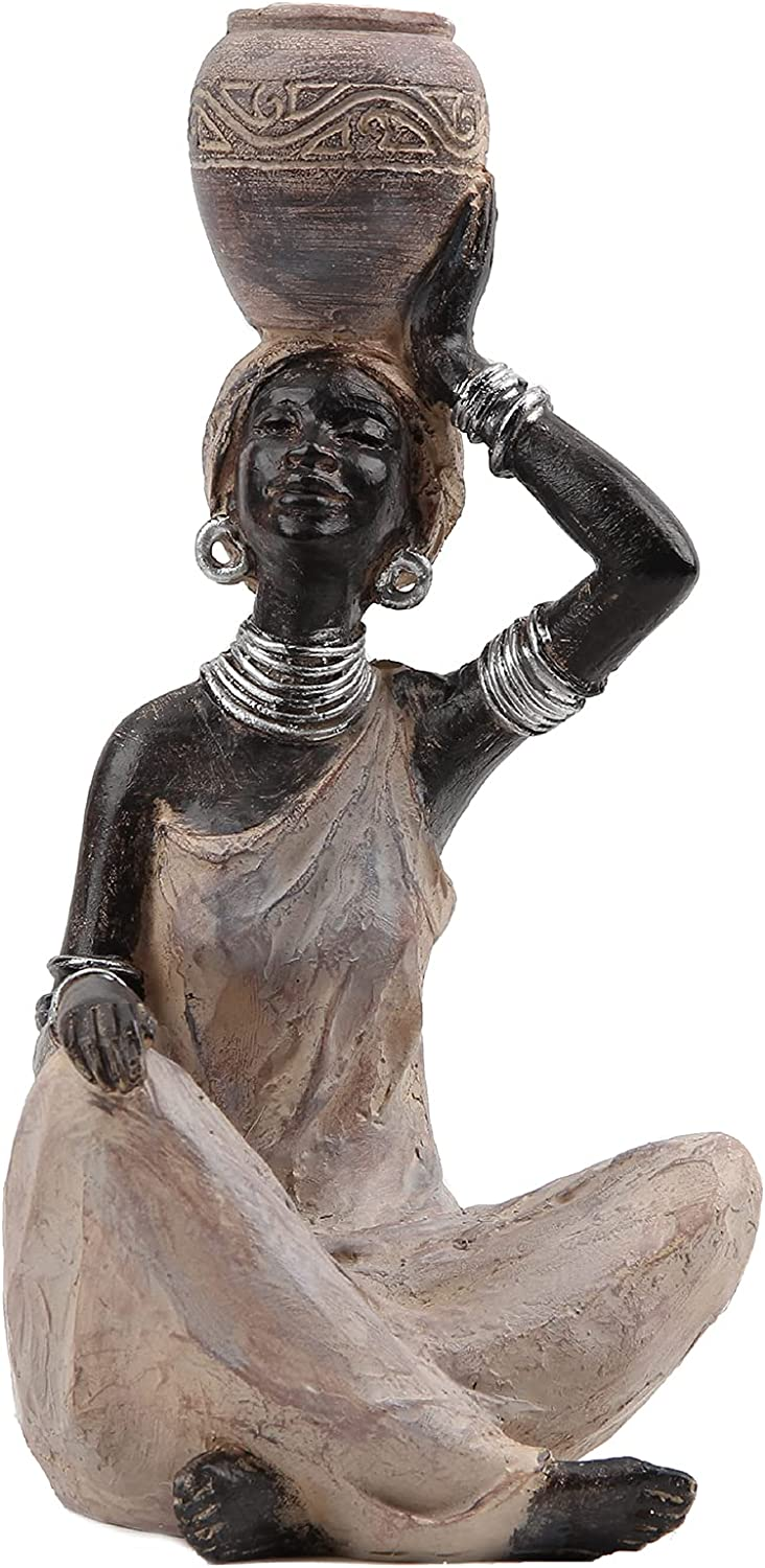 Leekung African Statue for Home Decoration,African Statues and Sculptures Table top Bookshelf Decor,African Lady Figurines Home Decor Antique Woodstone Color