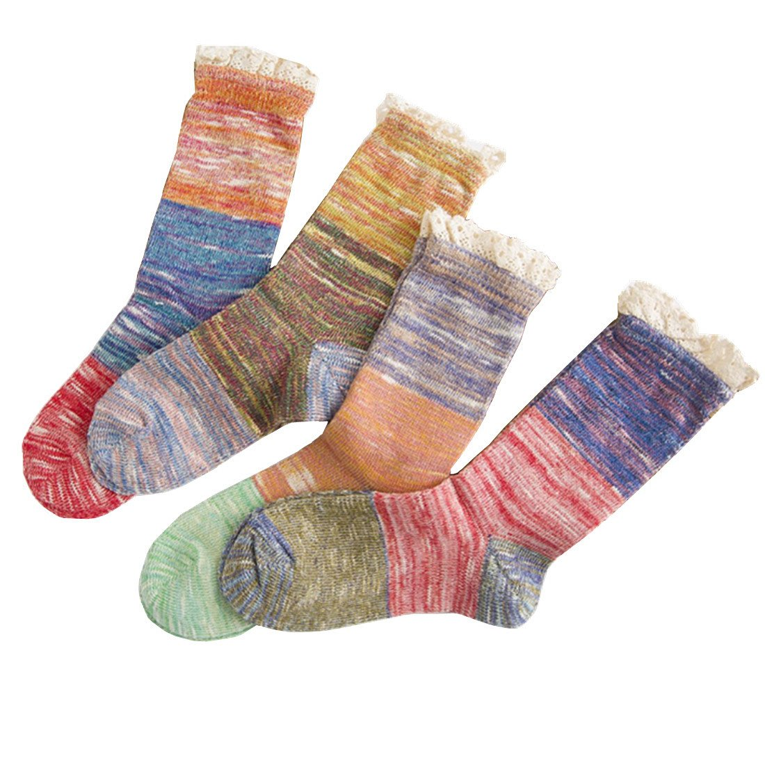 Womens Lady's 4 Pack Crochet Lace Trim Cotton Knit Boot Socks Winter Leg Warmer (model 1)