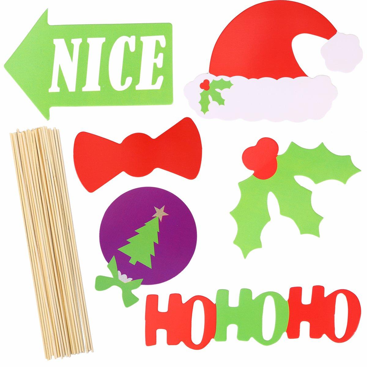 OULII Navidad de DIY Photo Booth Accesorios Photocall para Partido ...