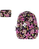 Vera Bradley Pirouette Pink Backpack Bundle: Laptop Backpack and Turnlock Wallet