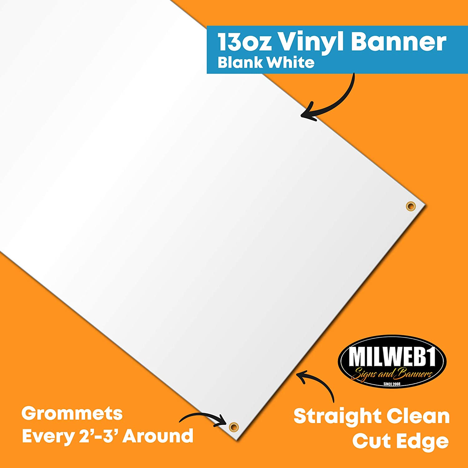 Blank White Vinyl Banner Sign with Grommets Milweb1 2x3