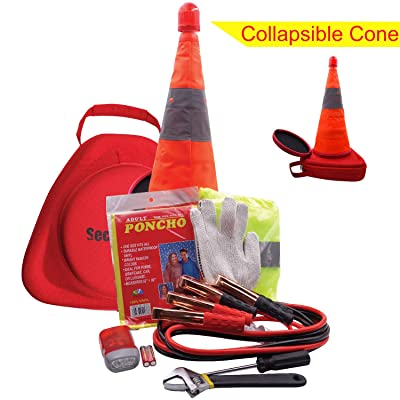 SECURITYMAN Roadside Emergency Car Kit - A Must Have Multipurpose Car Accessory - Vehicle Emergency Kit with Premium Jumper Cables, Collapsible Traffic Cone with LED Assistant Light, More: Automotive