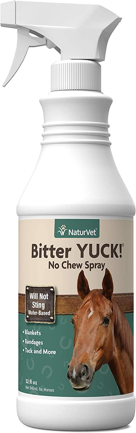 NaturVet – Bitter YUCK - No Chew Spray For Horses – Deters Chewing On Tails, Manes, Bandages, Wounds & More – Water Based Formula Does Not Sting or Stain – 32 oz