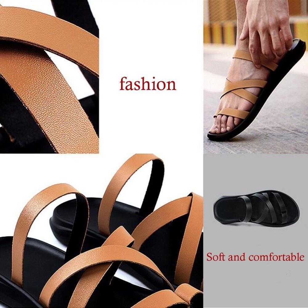 Herren Schuhe Leder Sommer Sandalen Herren Casual Sandalen Herrenchen Flip Flops   Herrenchen Sandalen Wort Flip Flop Herren Strand Schuhe GAOLIXIA ( Farbe : Weiß , Größe : 42 ) - 7115af