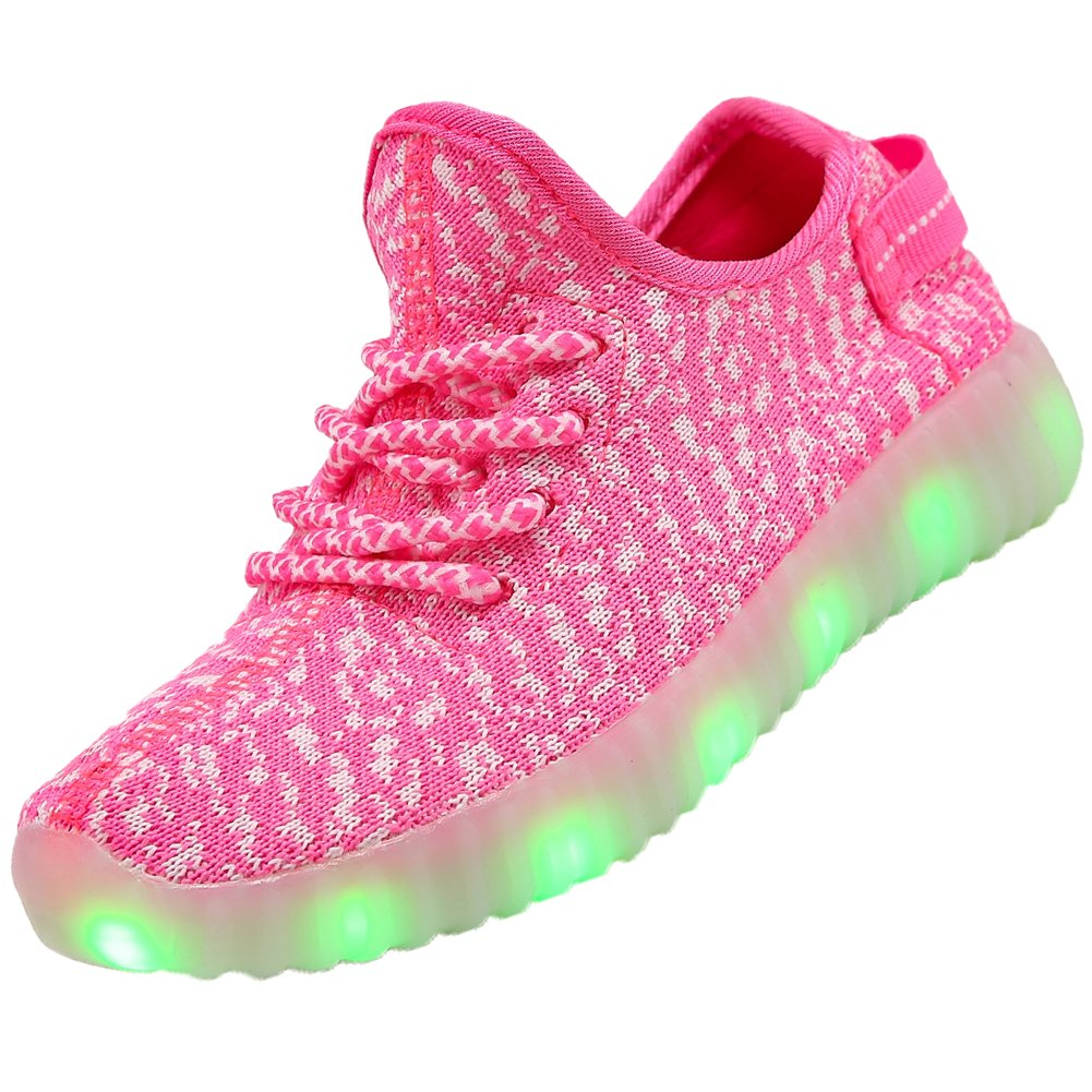 FASHOE Colors Breathable LED Light Up Shoes Flashing Sneakers for Kids Boys Girls-3001-Pink-29