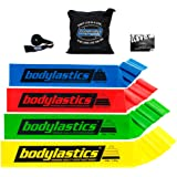 BODYLASTICS PREMIUM FLAT Resistance Bands Set. Includes 4Best Quality Flat Resistance Bands, Top Rated Door Anchor, Carry Bag, Printed User Book.