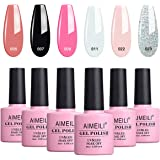 Aimeili Soak Off Uv Led Gel Nail Polish Multicolor/Mix Color/Combo Color Set Of 6Pcs X 10Ml - Kit Set 1