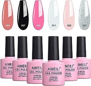 AIMEILI Soak Off UV LED Gel Nail Polish Multicolor/Mix Color/Combo Color Set Of 6Pcs X 10Ml - Kit Set 1