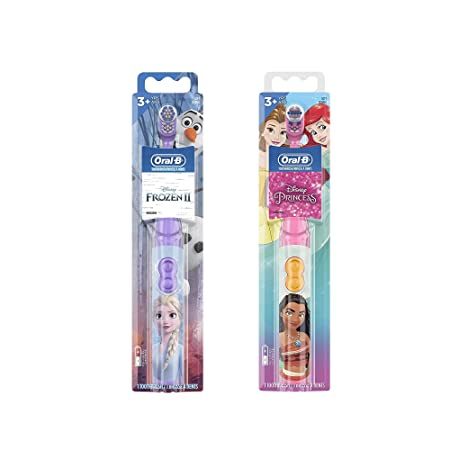 Oral-B Pro-Health Jr. Battery Powered Kid's Toothbrush Featuring Disney's Frozen, Soft, 1 ct & Disney Princess Power Kid's Toothbrush 1 Count Characters May Vary