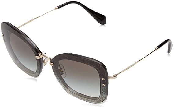 3e43fa9e2b Image Unavailable. Image not available for. Color  Miu Miu MU02SS VA00A7  Azure   Hazelnut MU02SS Cats Eyes Sunglasses ...