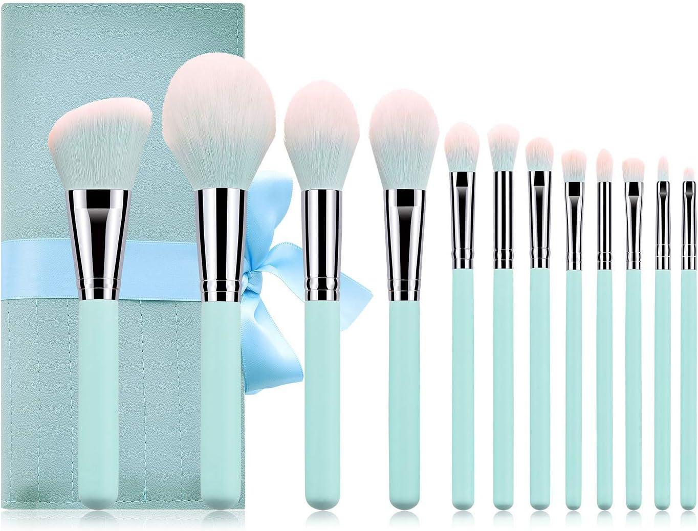 LETGOPrime Deals Day Deals 2020-Juego de 12 brochas de maquillaje profesional con mango de madera, base de polvo sintético, mezcla de sombra de ojos, corrector, bolsa de regalo, , , Azul turquesa,, ]