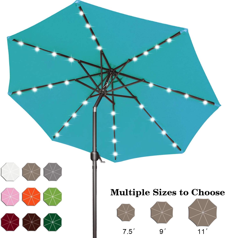 Backyard and Pool,12+Colors, Deck Forest Green ABCCANOPY 7.5FT Patio Umbrella Ourdoor Solar Umbrella LED Umbrellas with 32LED Lights Tilt and Crank Table Umbrellas for Garden