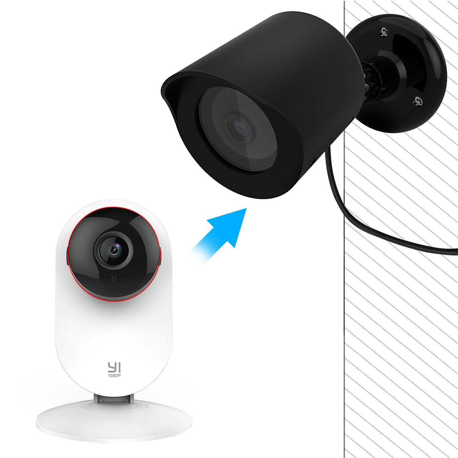 YI Home Camera Wall Mount, Basstop 360 Degree Swivel Bracket Holder Case Cover for YI 1080p/720p Home Camera Outdoor&Indoor Weatherproof High grade Plastic Housing …