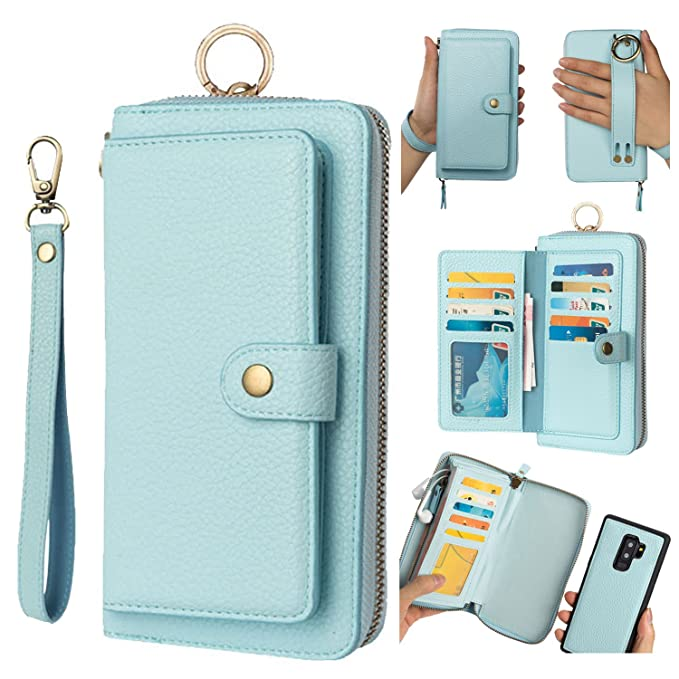 sports shoes a763c 380cd Galaxy S9 Leather Case,Galaxy S9 Wallet Case for For Women and Men,AIFENG  For Samsung Galaxy S9 Leather Flip Folio Case Cover Pouch with Card Holder  ...