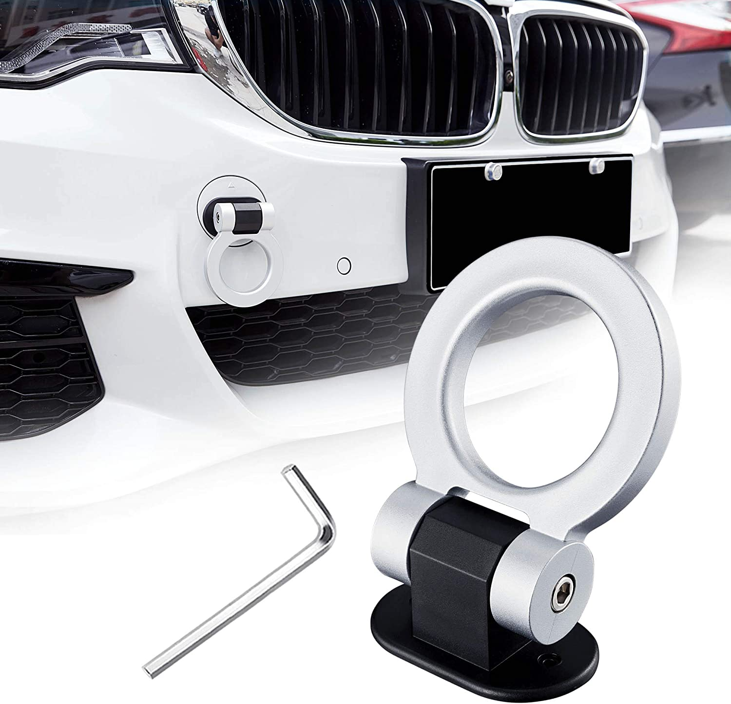 ONLY Decoration TOMALL Tow Hook Kit Silver Car Decorations Sticker Car Decor Bumper for Auto Exterior Accessories