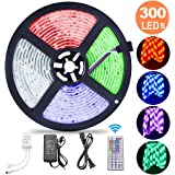 Striscia LED RGB 5M ESEYE, Strisce LED 5050 Impermeabile/Autoadesiva/Accorciabile/Flessibile/Divisibile/Collegabile, Nastri LED 24W da 5M, Luci decorative interne ed esterne, Retroilluminazione TV