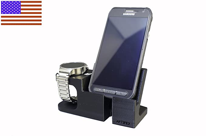 Artifex Design Stand Configured for Huawei Watch Stand, Smartwatch Cradle (Huawei Phone Combo Black)