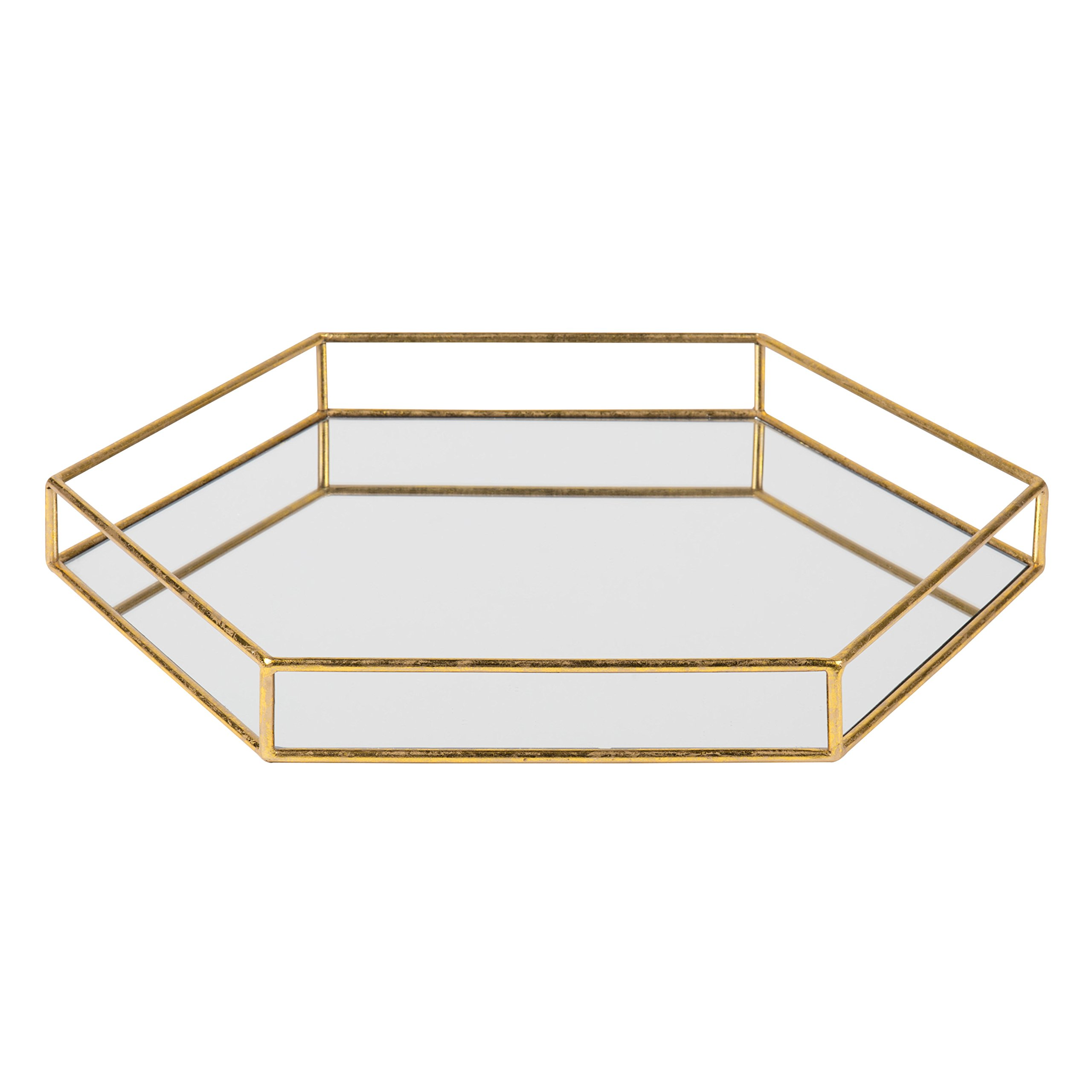 Kate and Laurel Felicia 20x20 Metal Mirrored Hexagon Decorative Tray, Gold by Kate and Laurel