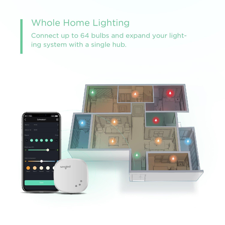 Sengled Element BR30 Smart Bulb Starter Kit (8 Bulbs + Hub) - 60W Equivalent Soft White (2700K) Smart Flood Light Bulbs (Compatible with Amazon Alexa, Google Assistant, Samsung SmartThings and Wink) by Sengled (Image #3)