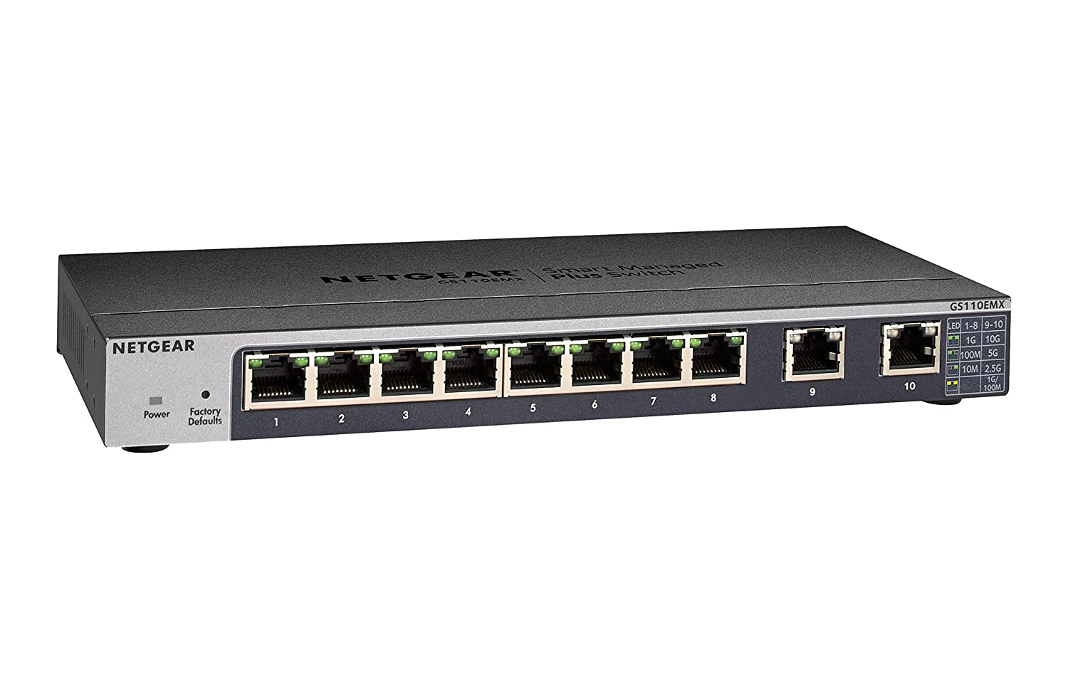 NETGEAR 10-Port Gigabit/10G Ethernet Smart Managed Plus Switch (GS110EMX) - with 2 x 10G/Multi-gig, Desktop/Rackmount, and ProSAFE Limited Lifetime Protection
