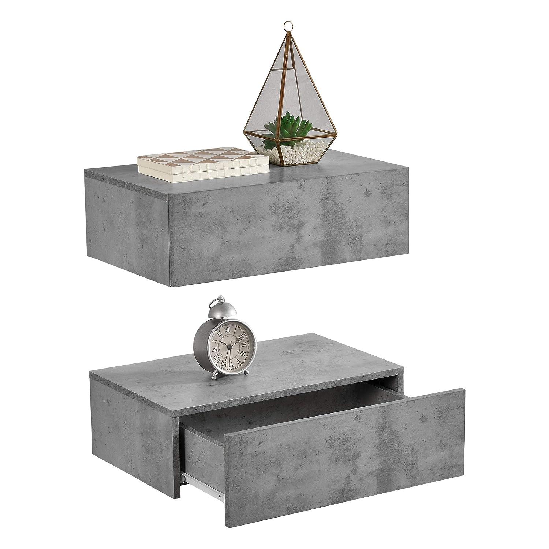 [en.casa]®] Set de 2 Mesitas de Noche de Pared con cajón - Aspecto de hormigón - 46x30x15cm: Amazon.es: Hogar
