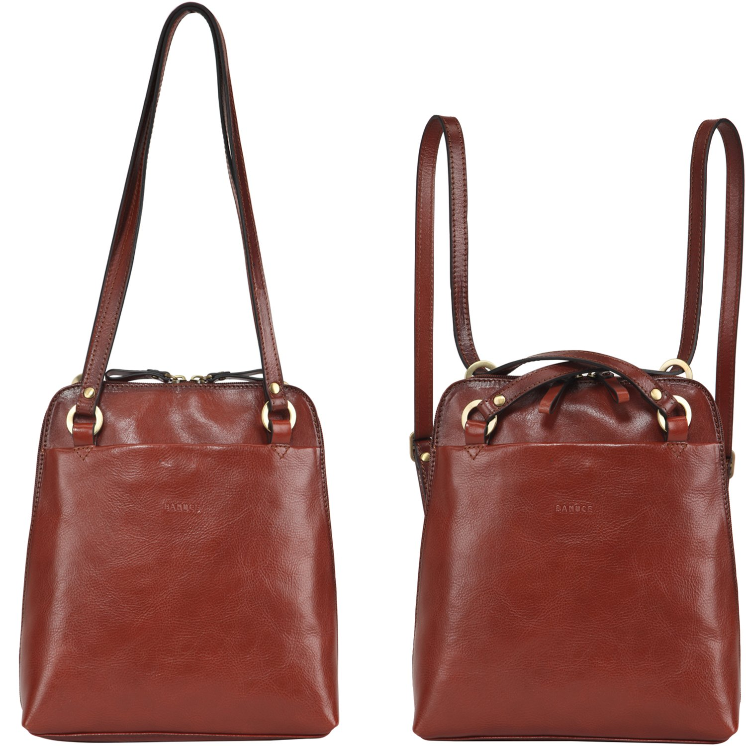 Banuce Women's Full Grain Leather Travel Backpack Small Dual Use Convertible Shoulder Bag Brown