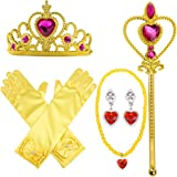 Yellow Dress Up Party Costume Accessories 3 Pieces Gift Set For Princess Bella cosplay: Tiara, Wand and Gloves