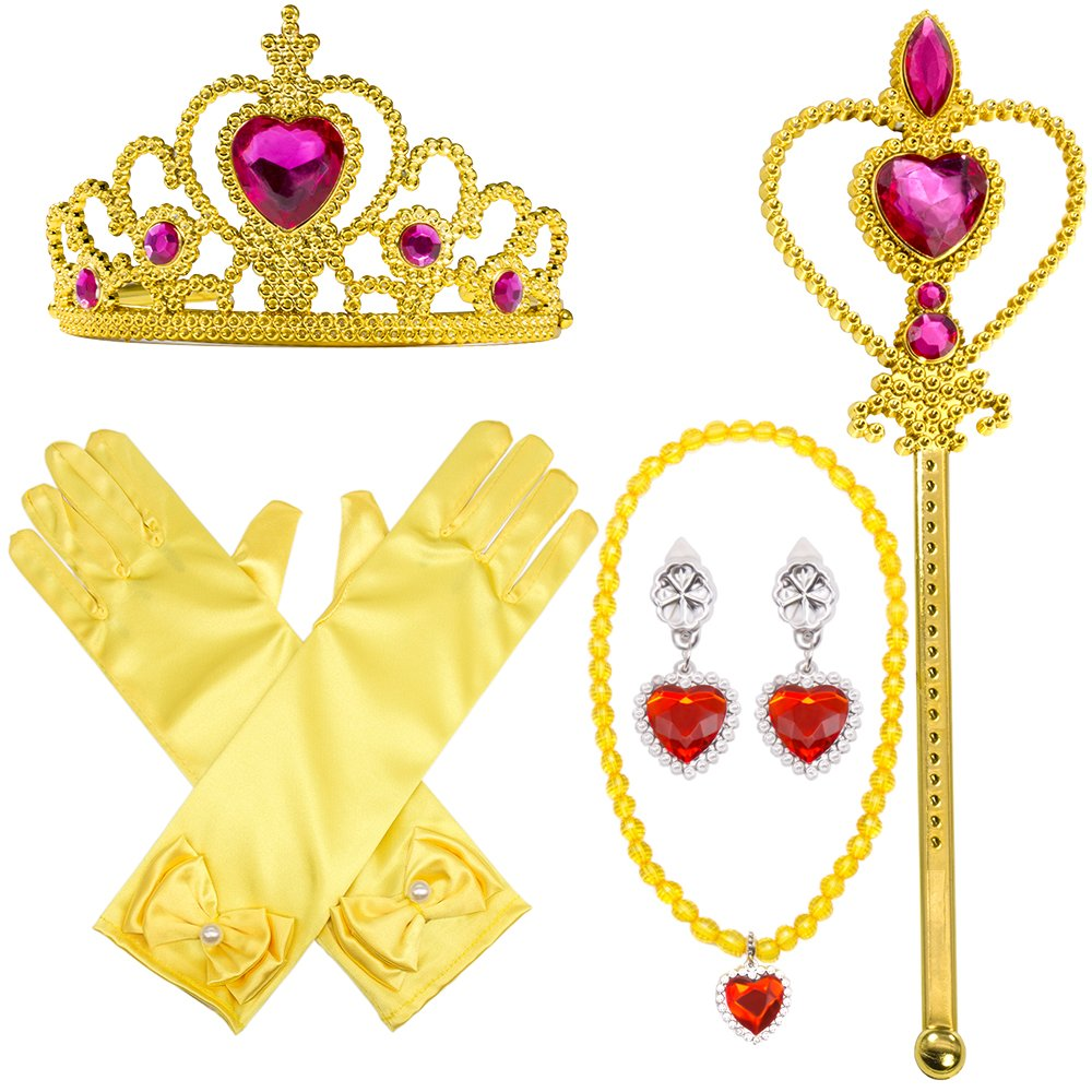 Princess Dress Up Party Costume Accessories 5 Pieces Set For Princess Belle cosplay: Tiara, Wand and Gloves(Yellow)