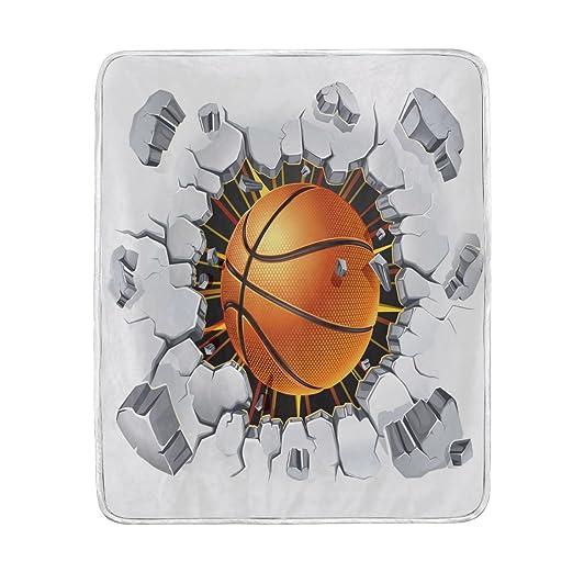 ALAZA balón de baloncesto Hit en la pared manta suave cálido ...
