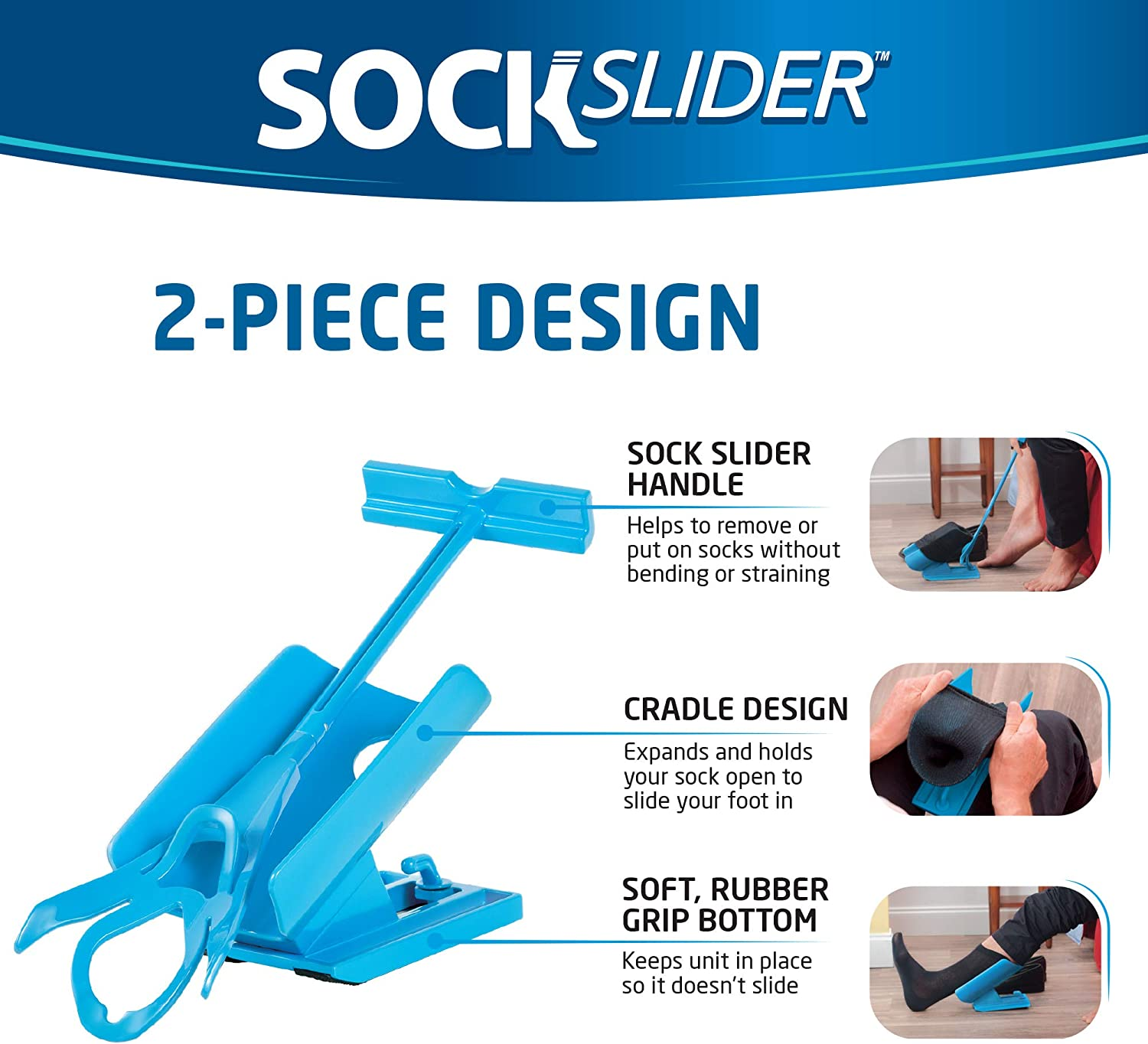 Allstar Innovations - Sock Slider - The Easy on, Easy off Sock Aid Kit & Shoe Horn | Pain Free No Bending, Stretching or Straining System that Packs up for Convenient Travel, As Seen on TV: Health & Personal Care