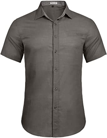 Sykooria Camisa para Hombre de Manga Corta Camiseta de Verano con Botones de Cuello a Cuadros Camisa Formal: Amazon.es: Ropa y accesorios