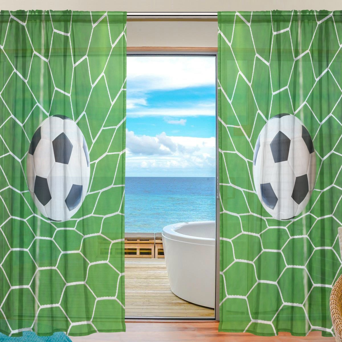 SEULIFE Window Sheer Curtain Sport Ball Soccer Voile Curtain Drapes for Door Kitchen Living Room Bedroom 55x78 inches 2 Panels g2749114p112c126s167