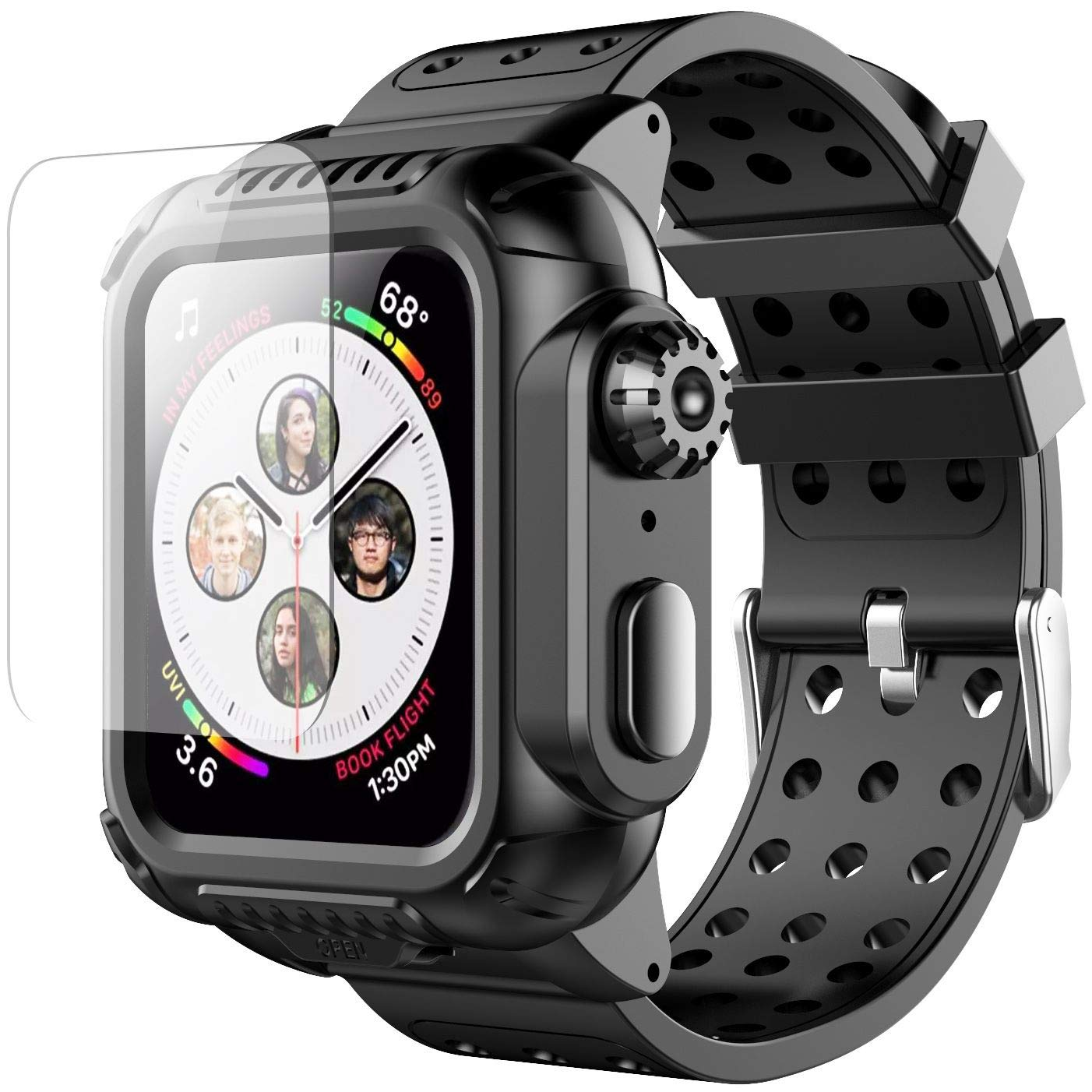 Apple Watch 4 Case 44mm with Band(2018), Oterkin Rugged Watch 4 Case with Strap Band Built-in Screen Protector Full Body Protective Case for Apple Watch Series 4(44mm) Shockproof/Anti-Scratch and More by Oterkin (Image #1)