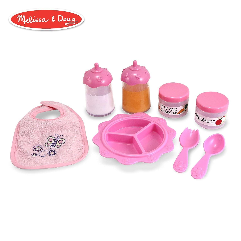 "2fb318e9fe Melissa & Doug Mine to Love Baby Food & Bottle Set (Doll Accessories,  Easy-Close Bib, Orange Juice and Milk Bottles, 8-Piece Set, 14"" H x 11"" W x  2.5"" L)"