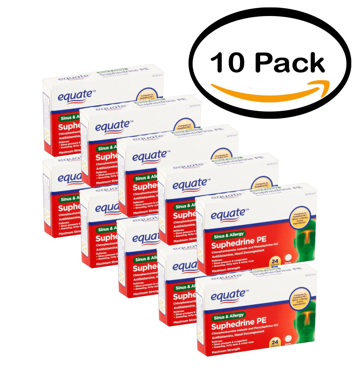 PACK OF 10 - Equate: Suphedrine PE Sinus & Allergy Tablets Antihistamine/Nasal Decongestant, (24 Ct/Pck) by Equate