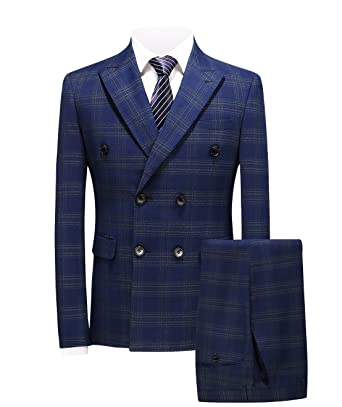 ee2ce22028ffd7 MOGU Mens 3 Piece Double Breasted Plaid Suit Slim Fit US Size 30 (Asian S
