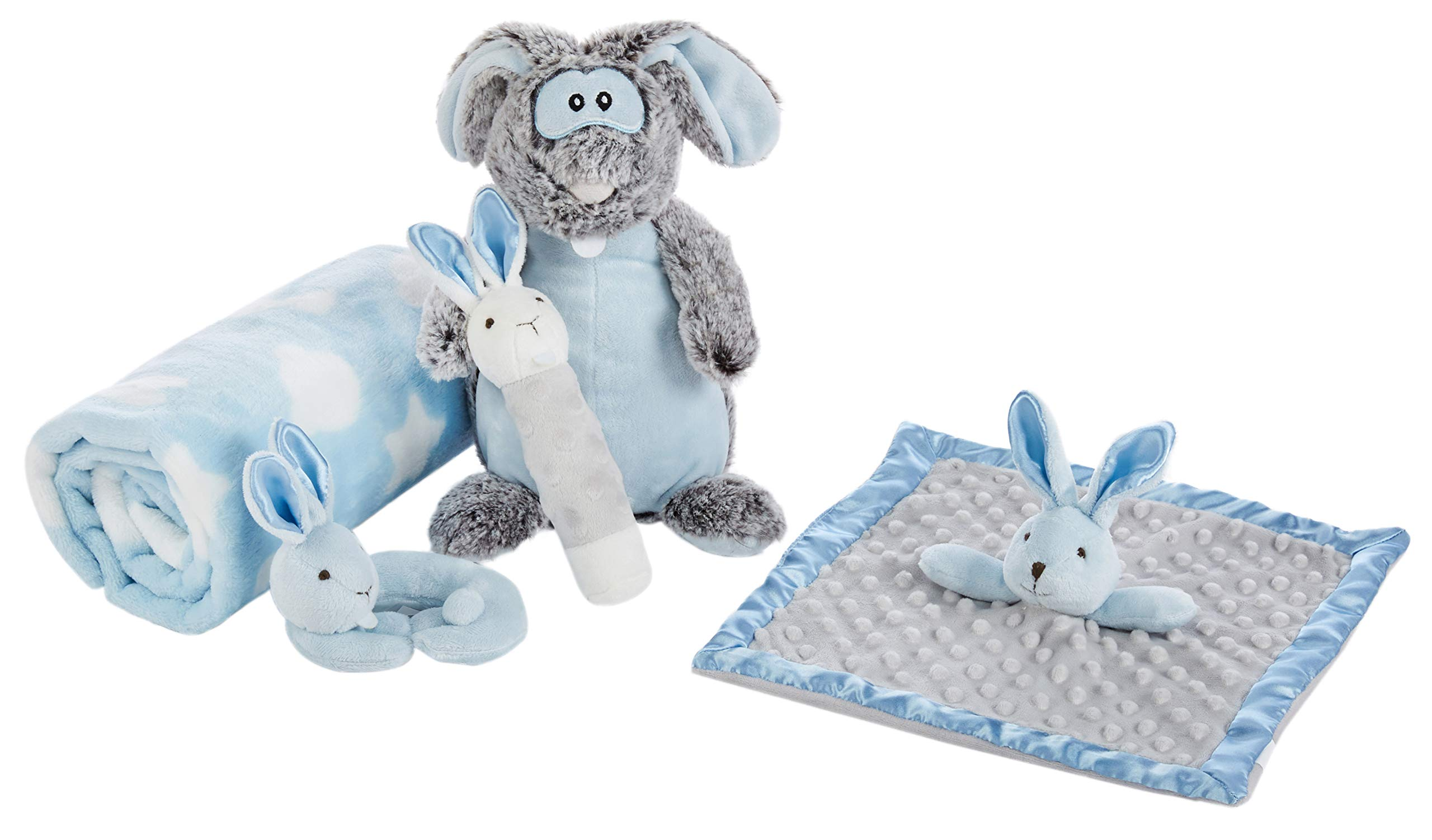 Baby Brielle 5 Piece Essentials Easter Gift Set with Plush Fleece Blanket Boy Security Soothing Lovies Rattles Stuffed Bunny Animal Toy + Greeting Card Gift Set for Babies, Blue