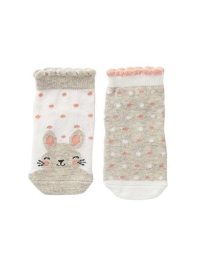 VERTBAUDET Lote de 2 pares de calcetines fantasía para bebé GRIS CLARO LISO CON MOTIVOS 23